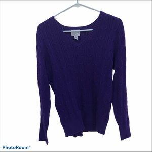 St. John's Bay Cable Womens Crew Neck Long Sleeve